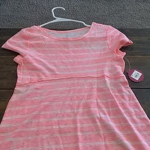 Girls pink and white striped tee